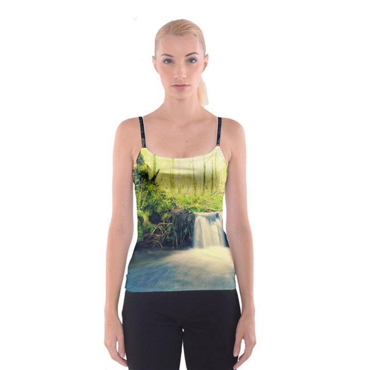 Waterfall River Nature Forest Spaghetti Strap Top