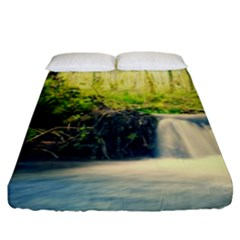 Waterfall River Nature Forest Fitted Sheet (king Size)