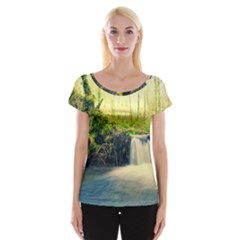 Waterfall River Nature Forest Cap Sleeve Top
