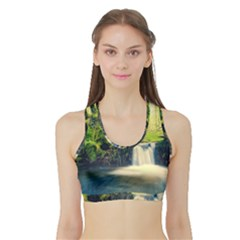 Waterfall River Nature Forest Sports Bra With Border