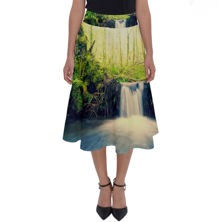 Waterfall River Nature Forest Perfect Length Midi Skirt