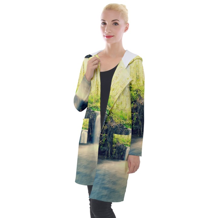 Waterfall River Nature Forest Hooded Pocket Cardigan