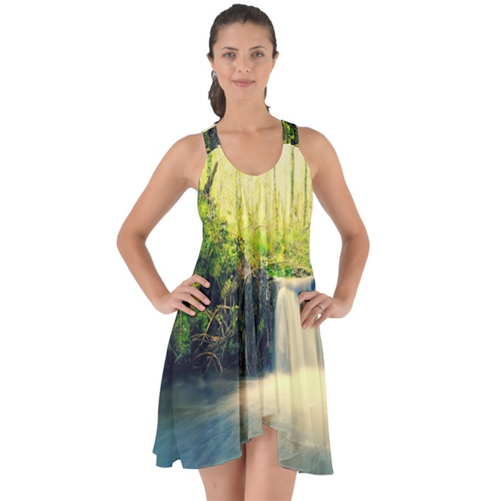Waterfall River Nature Forest Show Some Back Chiffon Dress