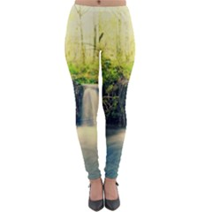 Waterfall River Nature Forest Lightweight Velour Leggings