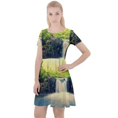 Waterfall River Nature Forest Cap Sleeve Velour Dress