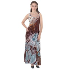 Paint Acrylic Paint Art Colorful Sleeveless Velour Maxi Dress