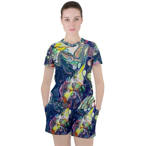 Paint Acrylic Paint Art Colorful Women s Tee And Shorts Set by Pakrebo