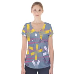 Background Abstract Non Seamless Short Sleeve Front Detail Top