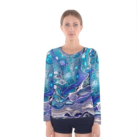 Paint Acrylic Paint Art Colorful Women s Long Sleeve Tee by Pakrebo