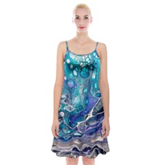 Paint Acrylic Paint Art Colorful Spaghetti Strap Velvet Dress
