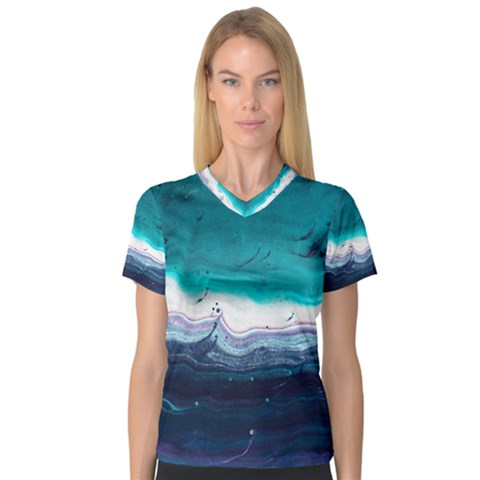 Color Acrylic Paint Art Painting V-neck Sport Mesh Tee by Pakrebo