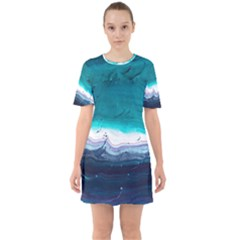 Color Acrylic Paint Art Painting Sixties Short Sleeve Mini Dress