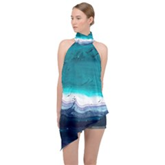 Color Acrylic Paint Art Painting Halter Asymmetric Satin Top by Pakrebo