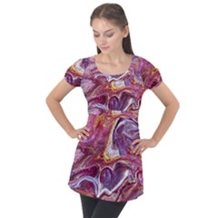 Paint Acrylic Paint Art Colorful Puff Sleeve Tunic Top