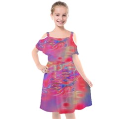 Purple Red Abstract Pool Kids  Cut Out Shoulders Chiffon Dress by bloomingvinedesign