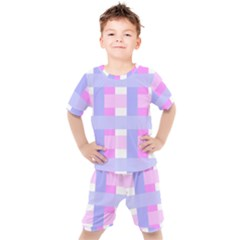 Gingham Checkered Texture Pattern Kids  Tee And Shorts Set