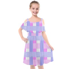Gingham Checkered Texture Pattern Kids  Cut Out Shoulders Chiffon Dress by Pakrebo
