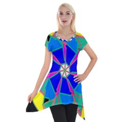 Mandala Wheel Pattern Ornament Short Sleeve Side Drop Tunic