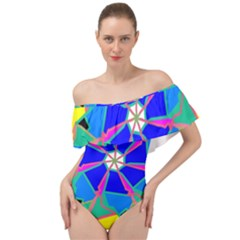 Mandala Wheel Pattern Ornament Off Shoulder Velour Bodysuit