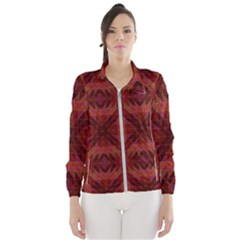 Maroon Triangle Pattern Seamless Women s Windbreaker