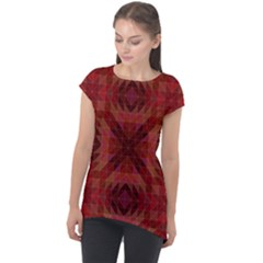 Maroon Triangle Pattern Seamless Cap Sleeve High Low Top by Pakrebo