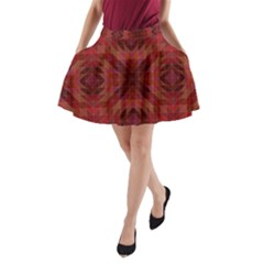 Maroon Triangle Pattern Seamless A Line Pocket Skirt
