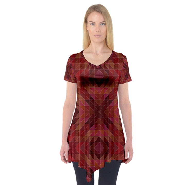 Maroon Triangle Pattern Seamless Short Sleeve Tunic