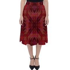 Maroon Triangle Pattern Seamless Classic Midi Skirt