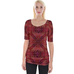 Maroon Triangle Pattern Seamless Wide Neckline Tee