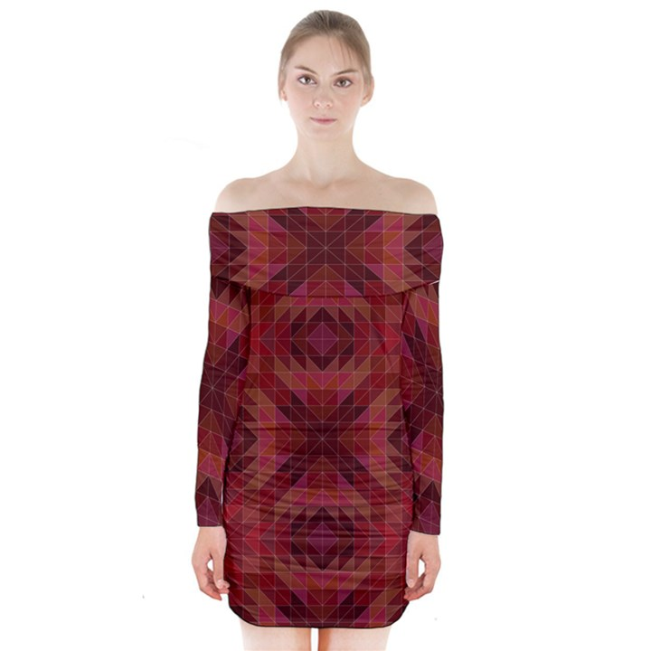 Maroon Triangle Pattern Seamless Long Sleeve Off Shoulder Dress