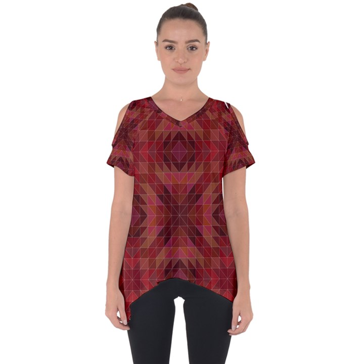 Maroon Triangle Pattern Seamless Cut Out Side Drop Tee