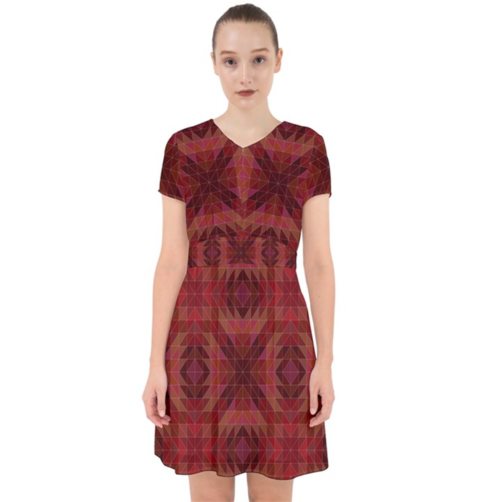 Maroon Triangle Pattern Seamless Adorable in Chiffon Dress