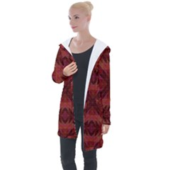 Maroon Triangle Pattern Seamless Longline Hooded Cardigan