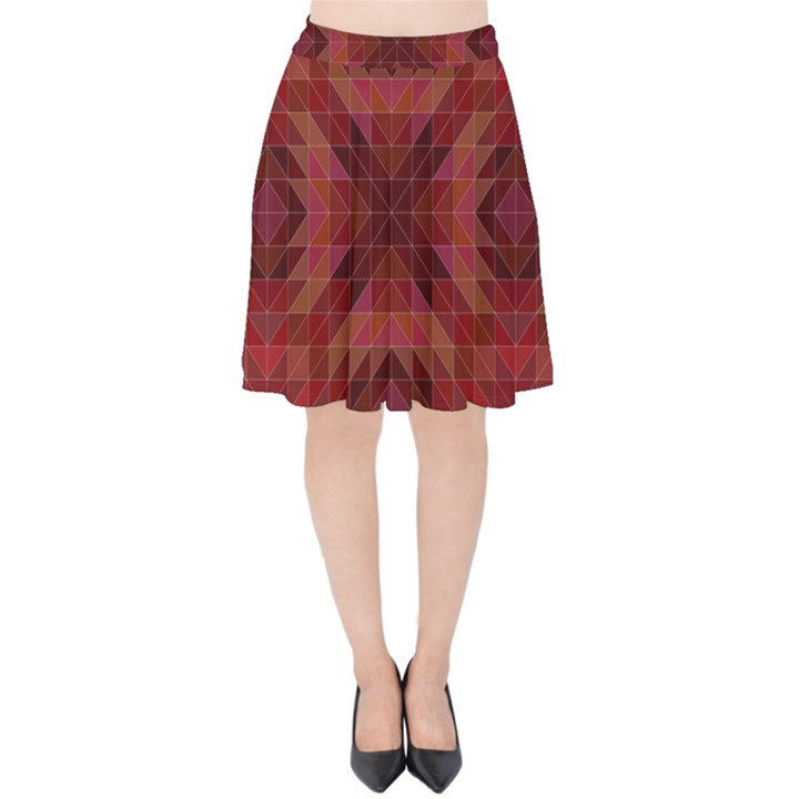 Maroon Triangle Pattern Seamless Velvet High Waist Skirt