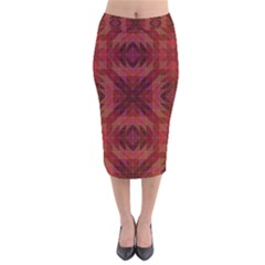 Maroon Triangle Pattern Seamless Velvet Midi Pencil Skirt