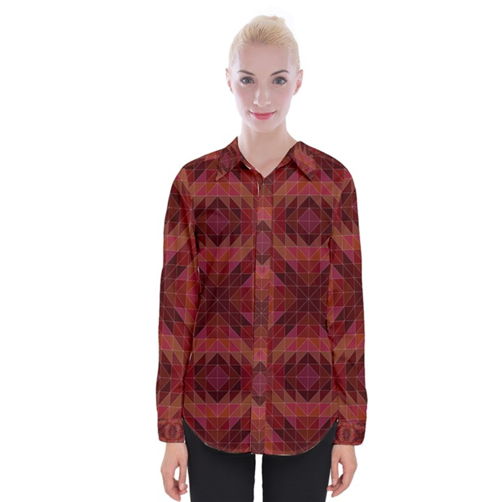 Maroon Triangle Pattern Seamless Womens Long Sleeve Shirt