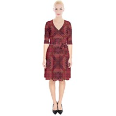 Maroon Triangle Pattern Seamless Wrap Up Cocktail Dress