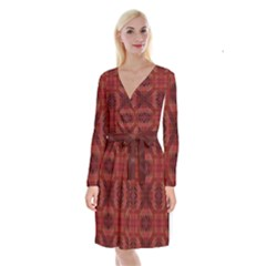 Maroon Triangle Pattern Seamless Long Sleeve Velvet Front Wrap Dress