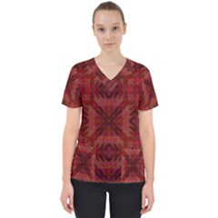 Maroon Triangle Pattern Seamless Women s V Neck Scrub Top