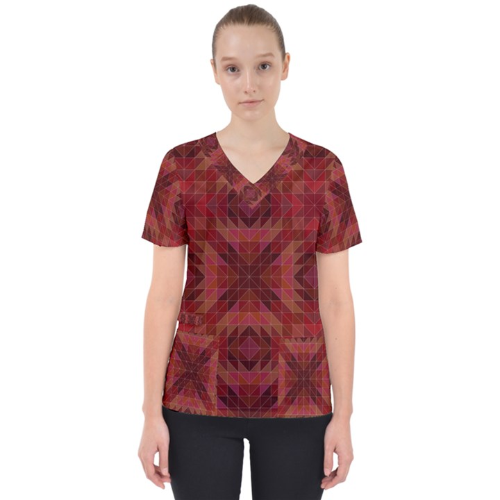 Maroon Triangle Pattern Seamless Women s V-Neck Scrub Top