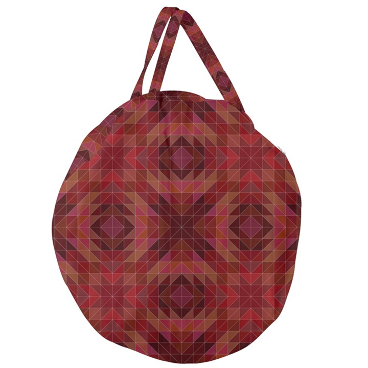 Maroon Triangle Pattern Seamless Giant Round Zipper Tote