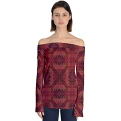 Maroon Triangle Pattern Seamless Off Shoulder Long Sleeve Top by Pakrebo
