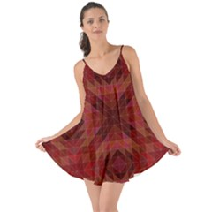 Maroon Triangle Pattern Seamless Love The Sun Cover Up by Pakrebo