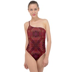Maroon Triangle Pattern Seamless Classic One Shoulder Swimsuit by Pakrebo