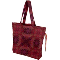 Maroon Triangle Pattern Seamless Drawstring Tote Bag
