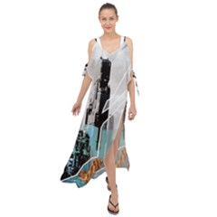 The City Of The Future Collage Maxi Chiffon Cover Up Dress