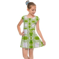 Seamless Wallpaper Background Green White Kids  Cap Sleeve Dress