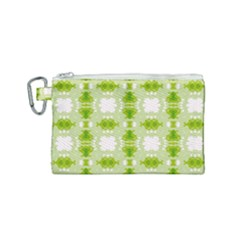 Seamless Wallpaper Background Green White Canvas Cosmetic Bag (small)
