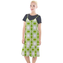Seamless Wallpaper Background Green White Camis Fishtail Dress