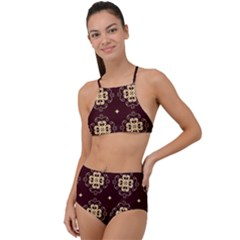 Seamless Ornament Symmetry Lines High Waist Tankini Set
